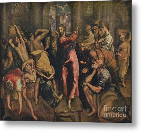 Oil Painting Metal Print featuring the drawing Die Tempelreinigung by Print Collector