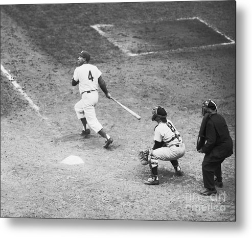 People Metal Print featuring the photograph Duke Snider Batting At Home Plate by Bettmann