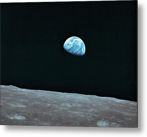 Black Color Metal Print featuring the photograph Earth And Lunar Landscape by Digital Vision.