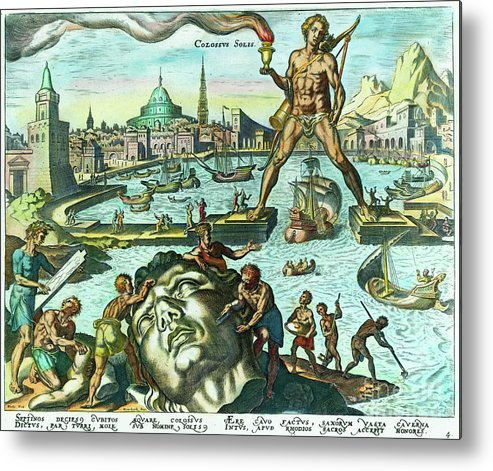 Engraving Metal Print featuring the photograph Engraving Of The Colossus Of Rhodes by Bettmann