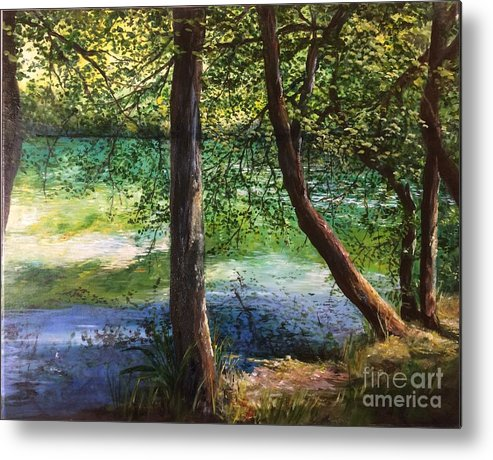 Riverbank Metal Print featuring the painting Ethereal Ever Changing Light by Lizzy Forrester