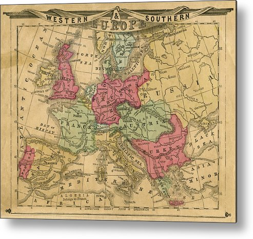 Greek Culture Metal Print featuring the photograph Europe Map by Belterz