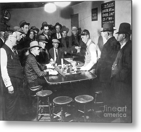 People Metal Print featuring the photograph Faro Gambling House After Legalization by Bettmann