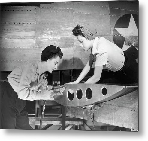 Working Metal Print featuring the photograph Female Workers Working On Plane by George Marks