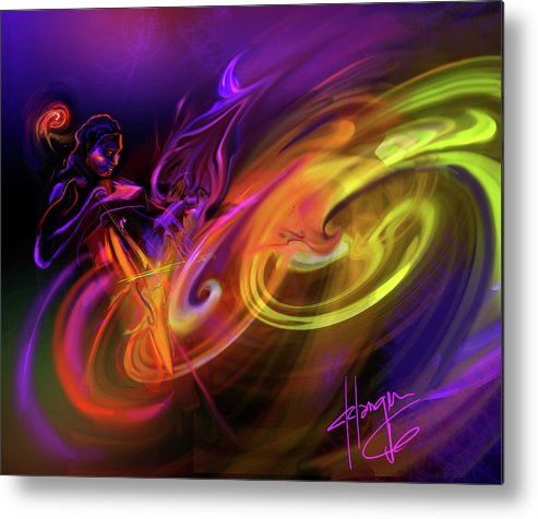 Fiona Metal Print featuring the painting Cellist In Space by DC Langer