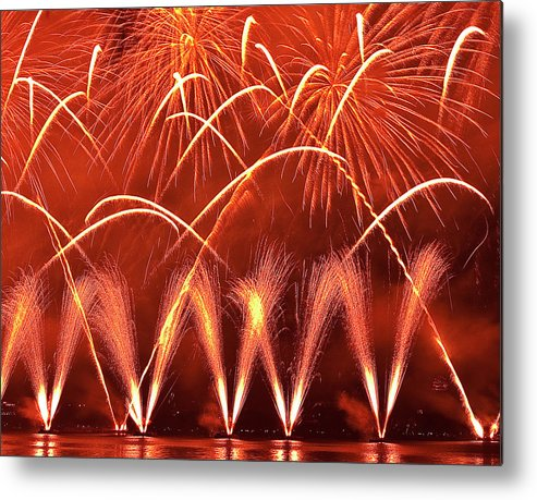 Firework Display Metal Print featuring the photograph Fireworks Over West Lake, Hangzhou by William Yu Photography