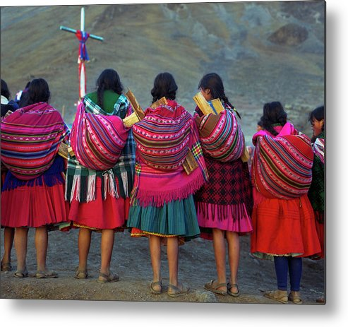 People Metal Print featuring the photograph Group Of Peruvian Woman In Colorful by Linka A Odom