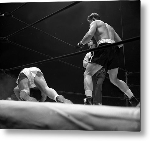 Heavyweight Metal Print featuring the photograph Gus Lesnevitch Vs Melio Bettina by New York Daily News