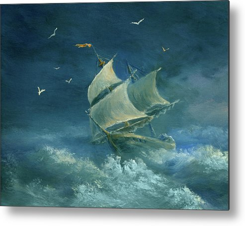 Image Metal Print featuring the digital art Heavy Gale by Pobytov
