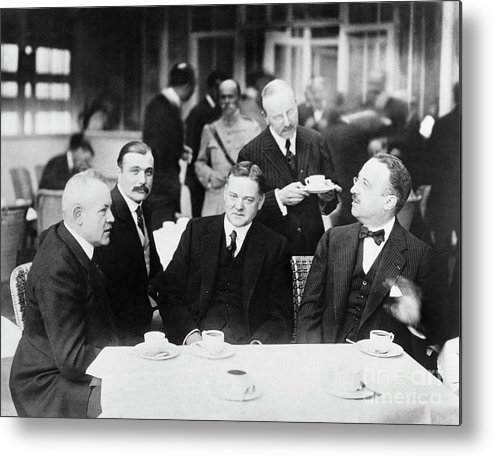 People Metal Print featuring the photograph Herbert Hoover Meeting With French by Bettmann