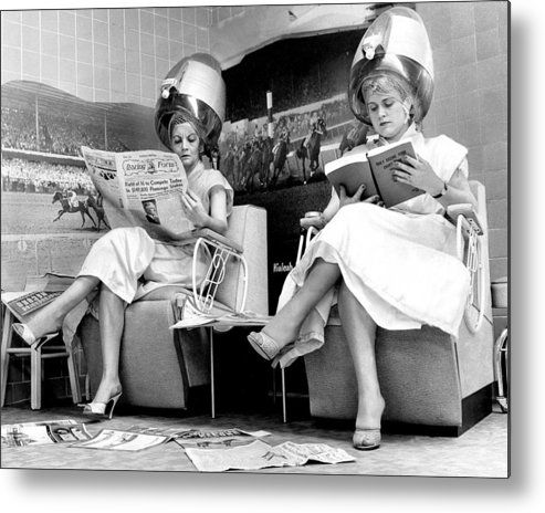 1950-1959 Metal Print featuring the photograph Hialeah Beauty Parlor Customers Scorn by New York Daily News Archive