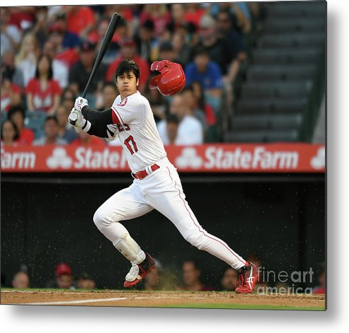 Headwear Metal Print featuring the photograph Houston Astros V Los Angeles Angels Of by John Mccoy