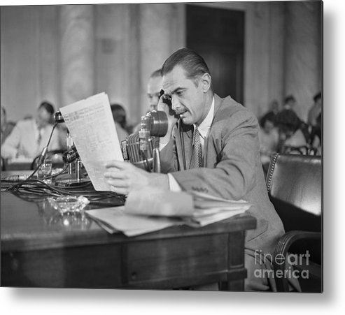 Howard Hughes Metal Print featuring the photograph Howard Hughes Testifying During Senate by Bettmann