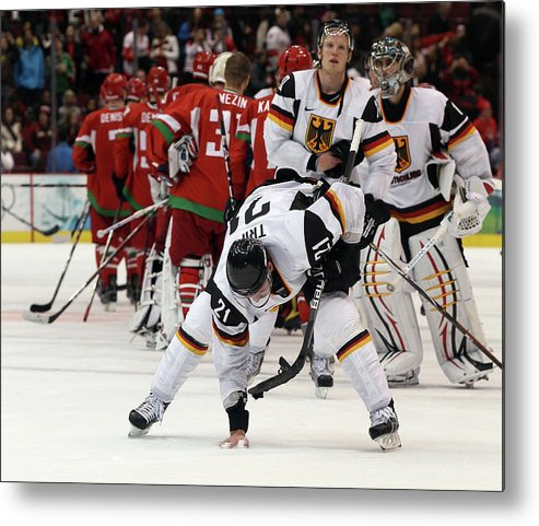 Defeat Metal Print featuring the photograph Ice Hockey - Day 9 - Germany V Belarus by Bruce Bennett