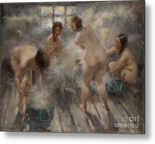 Spa Metal Print featuring the drawing In A Russian Banya, 1916. Artist by Heritage Images