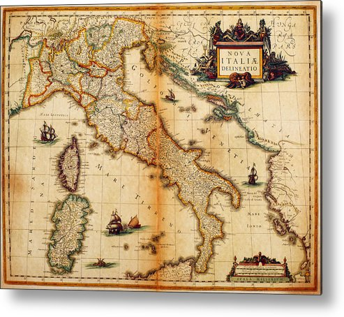 Engraving Metal Print featuring the digital art Italy Map 1635 by Nicoolay