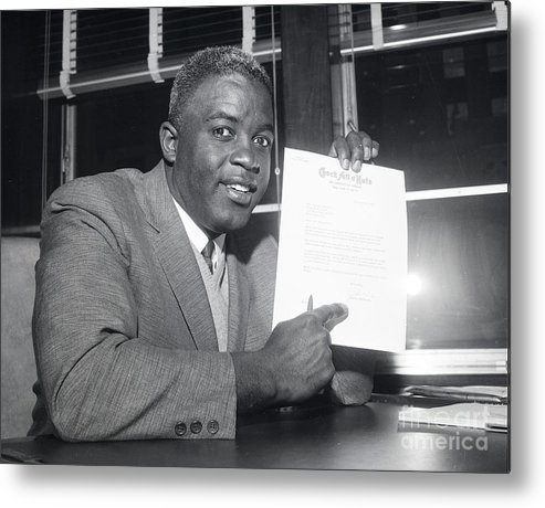 People Metal Print featuring the photograph Jackie Robinson Retires 1957 by Transcendental Graphics