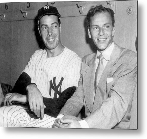 American League Baseball Metal Print featuring the photograph Joe Dimaggio And Frank Sinatra At by New York Daily News Archive