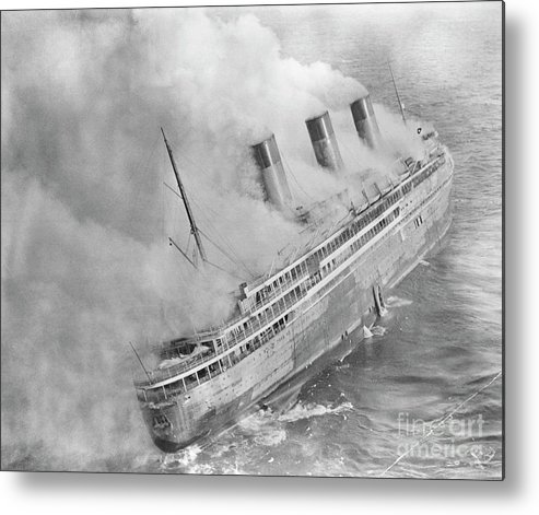 1930-1939 Metal Print featuring the photograph Latlantique Aflame Near English Channel by Bettmann