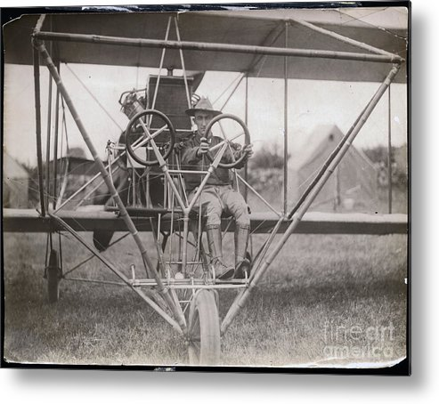 People Metal Print featuring the photograph Lieutenant Geiger Sitting In Cockpit by Bettmann