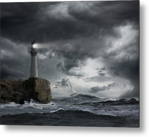 Risk Metal Print featuring the photograph Lighthouse Shining Over Stormy Ocean by John M Lund Photography Inc