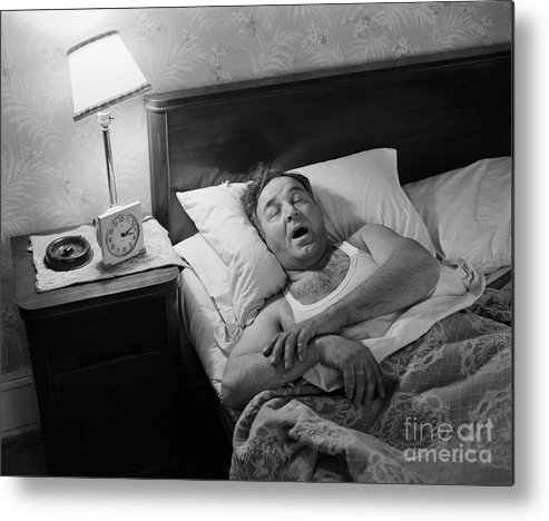 People Metal Print featuring the photograph Man Asleep In His Bed by Bettmann