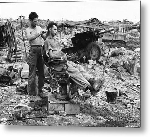 People Metal Print featuring the photograph Man Having Hair Cut In Okinawa by Bettmann