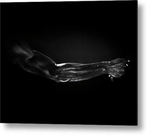 Human Arm Metal Print featuring the photograph Man Holding Tennis Racket, B&w Digital by Hans Neleman