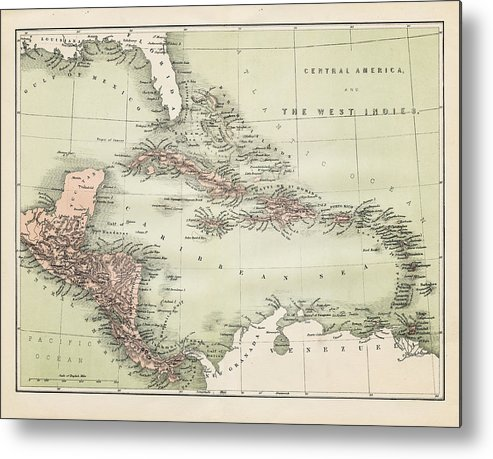 Barbados Metal Print featuring the digital art Map Od The Caribbean 1860 by Thepalmer