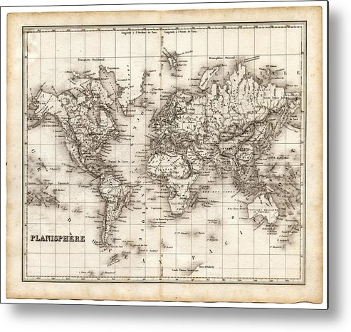 Oceania Metal Print featuring the digital art Map Of The World 1842 by Thepalmer