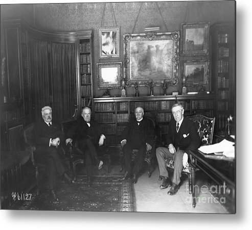 Versailles Metal Print featuring the photograph Members Of Versailles Conference by Bettmann
