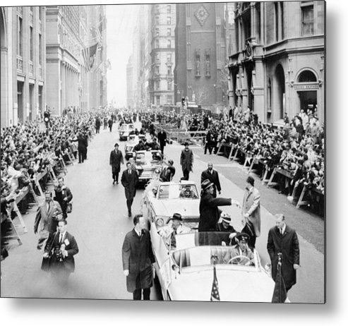 American League Baseball Metal Print featuring the photograph New York Mets Ride Up Lower Broadway by New York Daily News Archive
