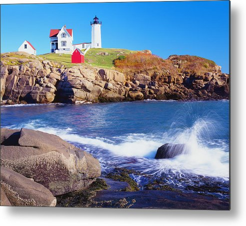 Water's Edge Metal Print featuring the photograph Nubble Lighthouse And Coastine Of Maine by Ron thomas