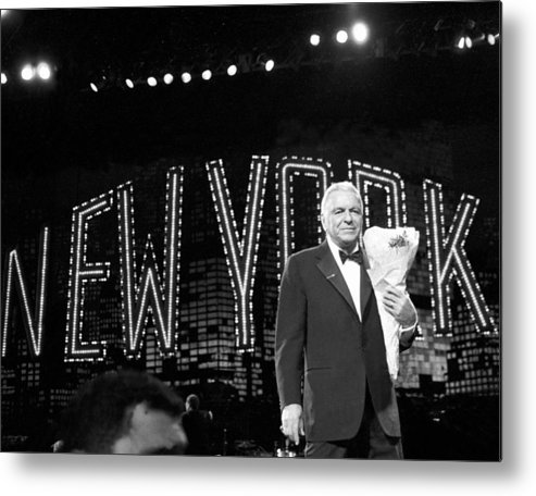 Following Metal Print featuring the photograph Ol Blue Eyes Frank Sinatra Clutches by New York Daily News Archive