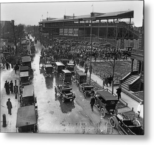 Outdoors Metal Print featuring the photograph Outside Wrigley Field by Chicago History Museum