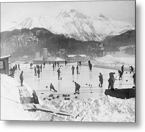 People Metal Print featuring the photograph People Enjoying Curling Rink by Bettmann