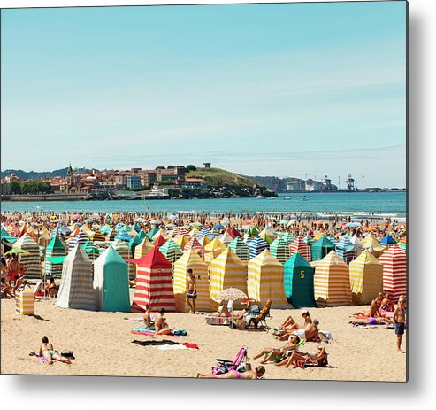 Beach Hut Metal Print featuring the photograph People Relaxing On Gijón Beach by Roc Canals Photography