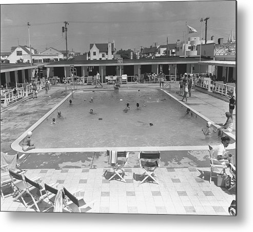 Rectangle Metal Print featuring the photograph People Swimming In Pool, B&w, Elevated by George Marks