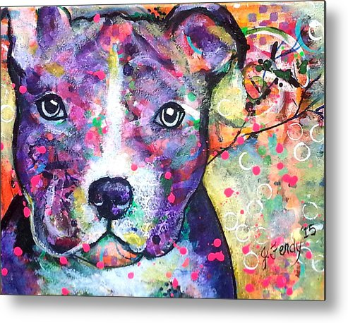 Pit Bull Metal Print featuring the painting Pit Bull by Goddess Rockstar