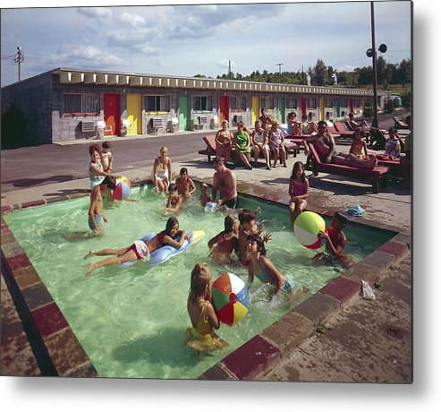 Recreational Pursuit Metal Print featuring the photograph Poolside Fun At Arca Manor by Aladdin Color Inc