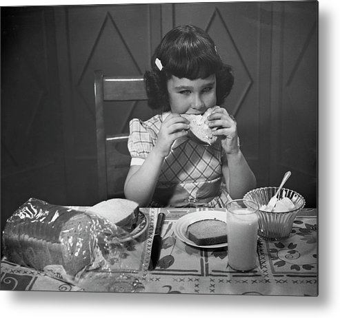 Milk Metal Print featuring the photograph Portrait Of Little Girl Eating Buttered by George Marks