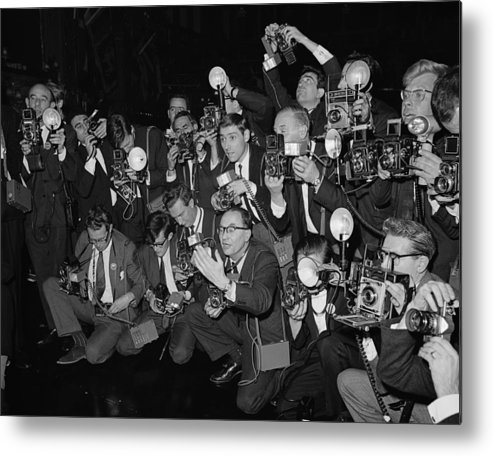 Crowd Metal Print featuring the photograph Press Fuss by Fox Photos