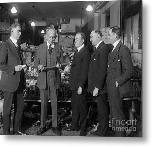 People Metal Print featuring the photograph Prohibition Officials Conversing by Bettmann