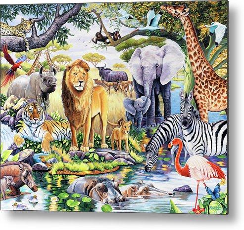 Safari Wildlife Metal Print featuring the painting Safari Wildlife by Jenny Newland