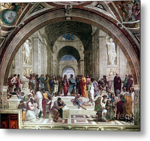 Education Metal Print featuring the drawing School Of Athens, C1510. Artist Raphael by Print Collector