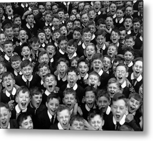 Crowd Metal Print featuring the photograph Schoolboys Cheer by Fox Photos