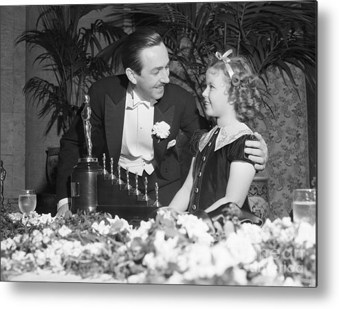 Child Metal Print featuring the photograph Shirley Temple And Walt Disney by Bettmann
