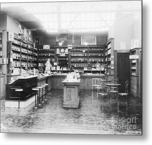 Pharmacy Metal Print featuring the photograph Soda Fountain In Drug Store by Bettmann