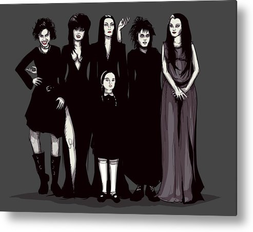 Craft Metal Print featuring the drawing Spooky Girls by Ludwig Van Bacon