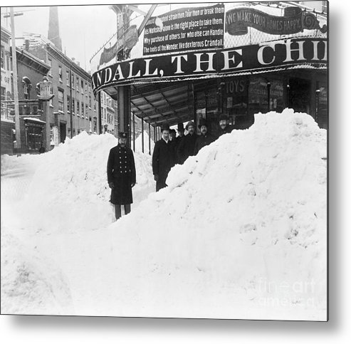 People Metal Print featuring the photograph Store Hidden By Heavy Snowfall by Bettmann